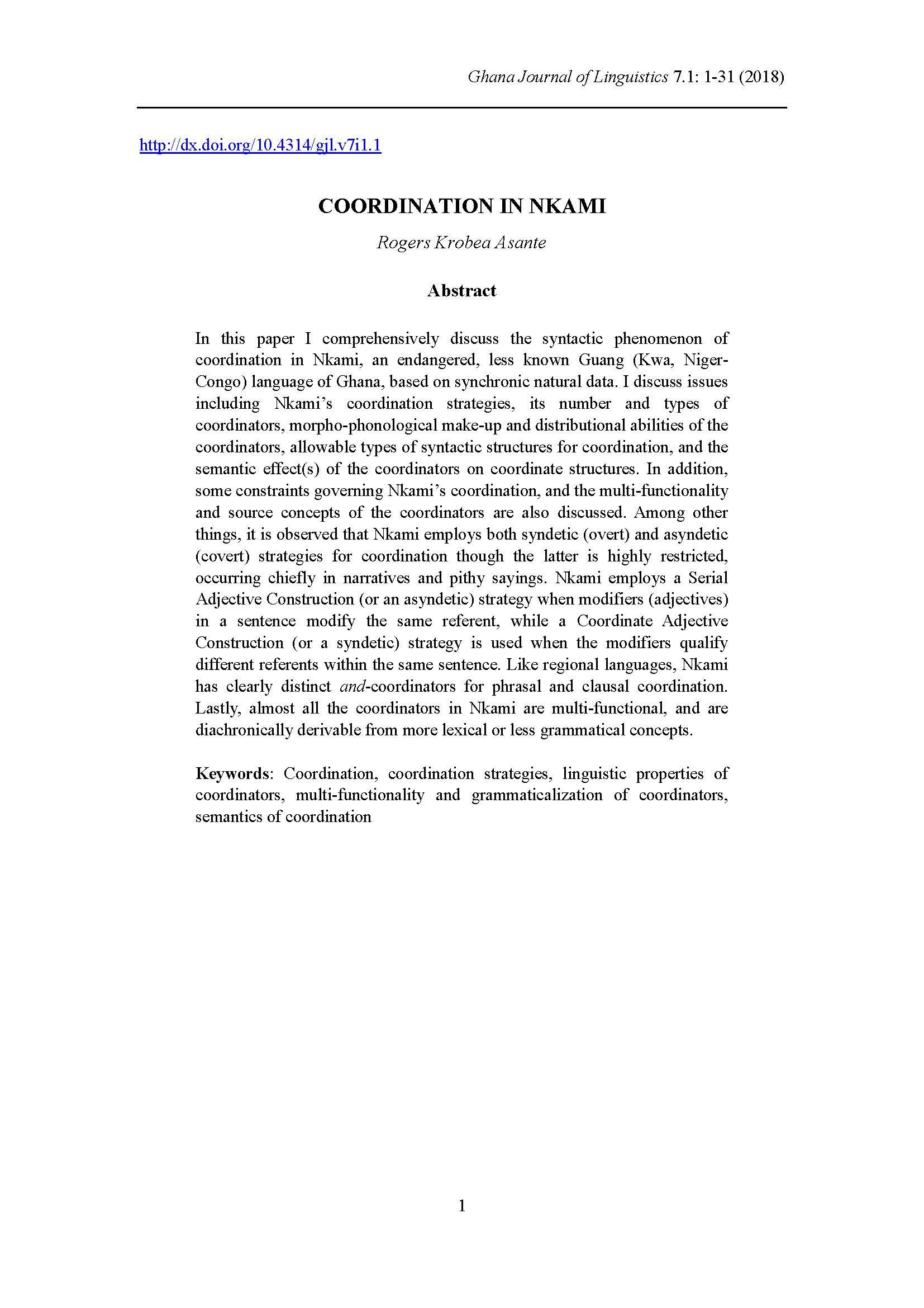 Coordination in Nkami