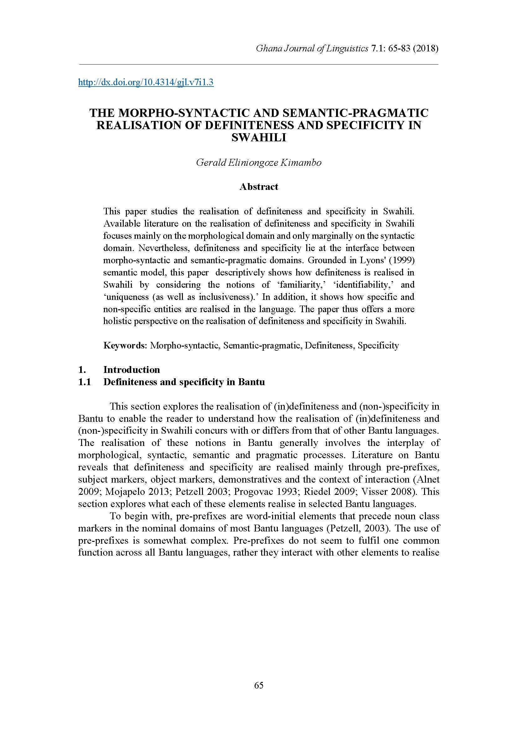 Morpho-syntactic and Semantic-Pragmatic Realisation of Definiteness and Specificity in Swahili