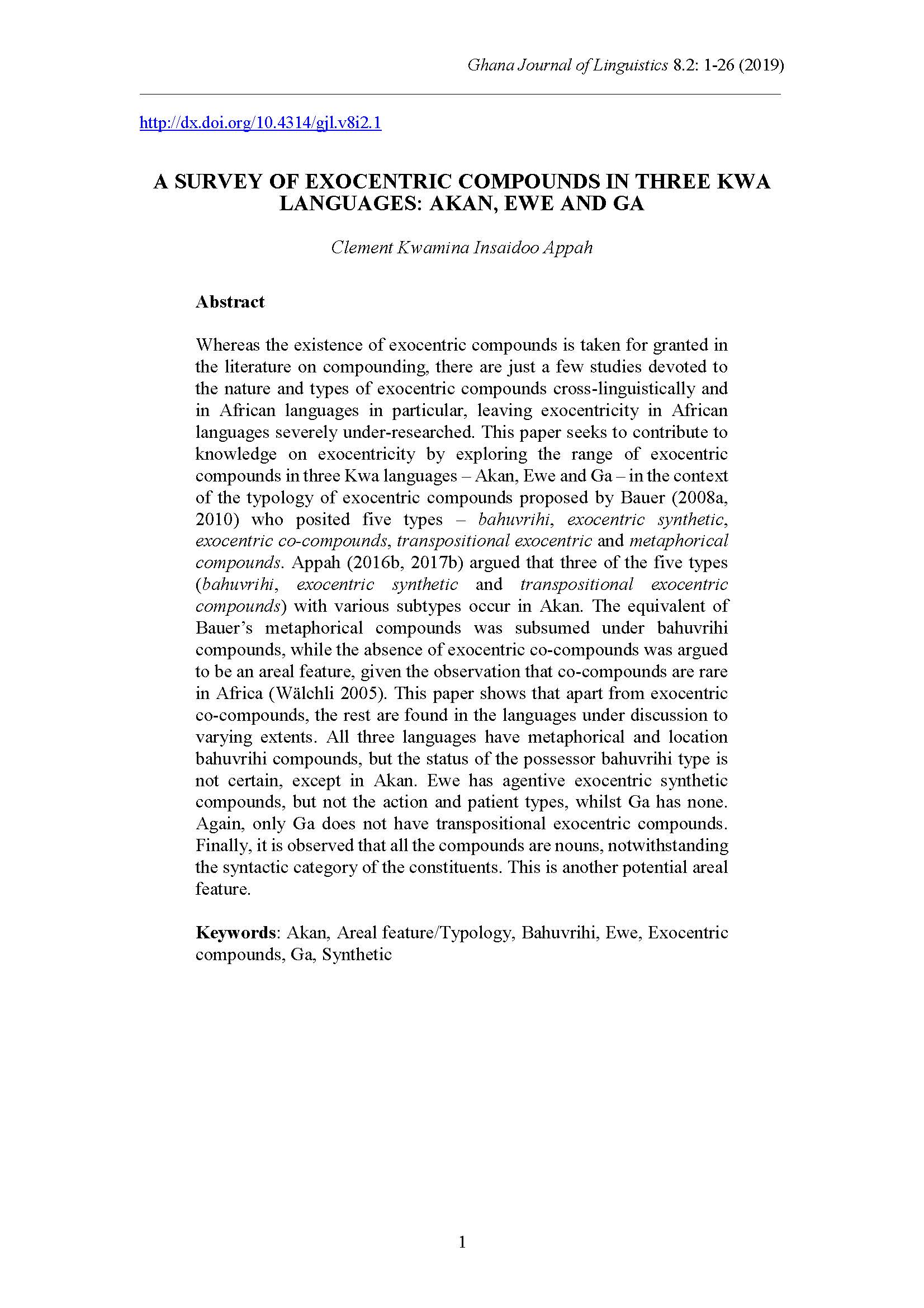 a survey of exocentric compounds in three kwa languages: akan, ewe, and ga
