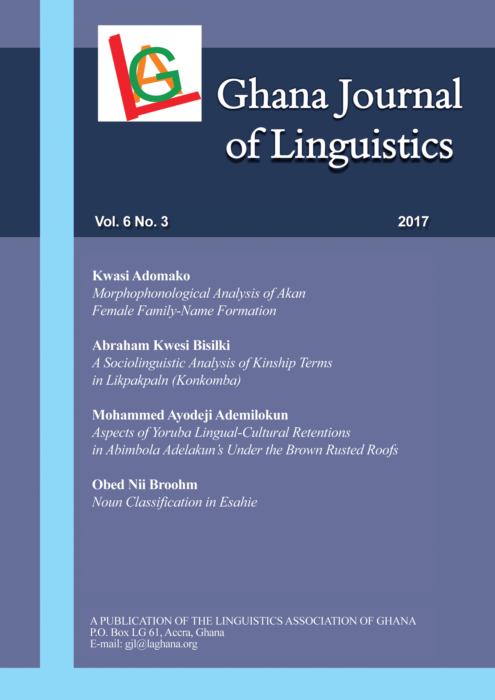 Ghana Journal of Linguistics 6.3 (2017)