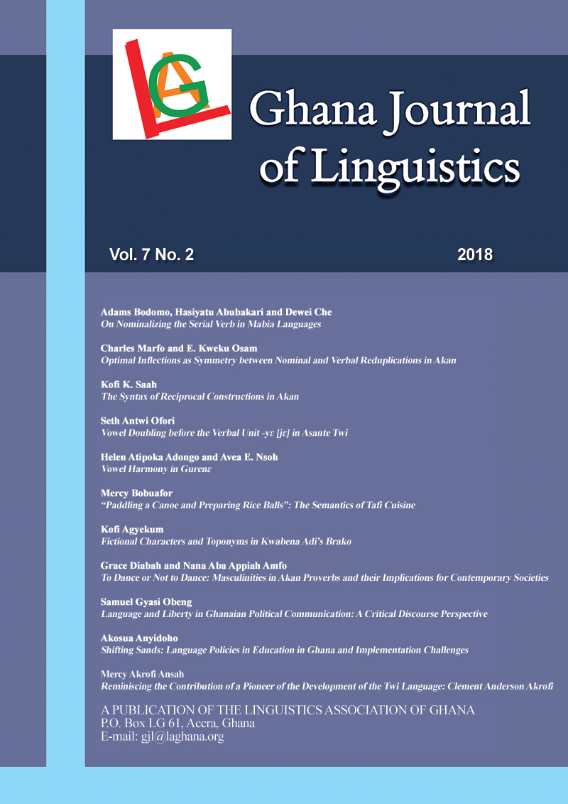 GHANA JOURNAL OF LINGUISTICS  Volume 7 Number 2  SPECIAL ISSUE DEDICATED TO PROFESSOR FLORENCE ABENA DOLPHYNE