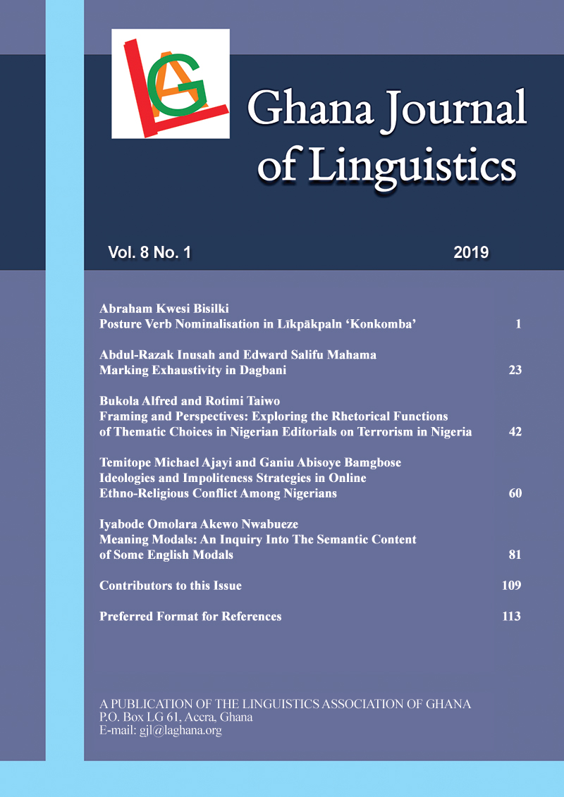 Ghana Journal of Linguistics Volume 8 Number 1