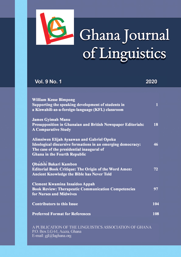 Ghana Journal of Linguistics Volume 9 Number 1