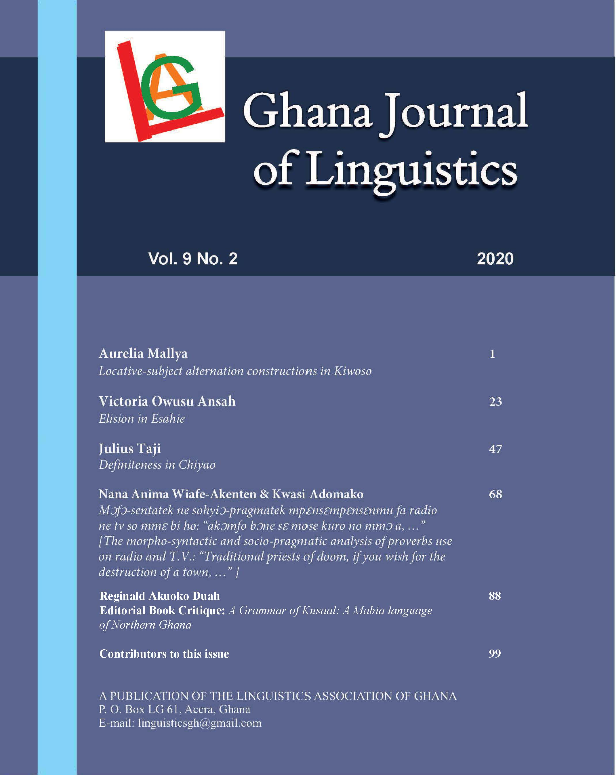 View Vol. 9 No. 2 (2020): Ghana Journal of Linguistics 9.2 (2020)