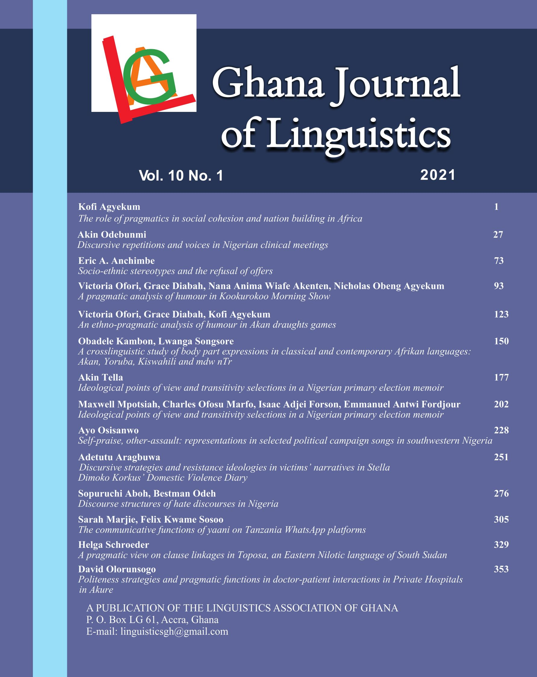 View Vol. 10 No. 1 (2021): Ghana Journal of Linguistics: Selected papers from the 1st African Pragmatics Conference